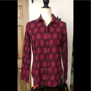 J. Crew Perfect Maroon Leaf Button Down Shirt